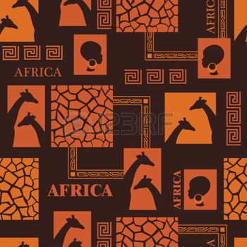 African design   Seamless pattern with skin of giraffe and ethnic simbols  photo
