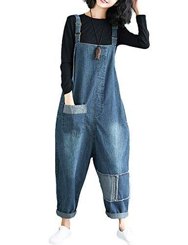 81221280800 Innifer Women s Loose Baggy Cropped Harem Pants Denim Bib Overalls Jumpsuit  Rompers