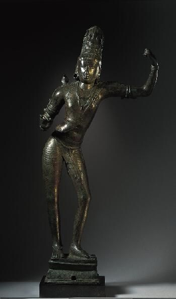 Tripurantaka-Shiva the Destroyer of the 3 Cities  ca. 925, Tandantottam, Tamil Nadu, India. Bronze. 30.5 in.  in a heroic stance, with his legs bent in dvibhanga. Shiva's outstretched hands would have held a bow and arrow.