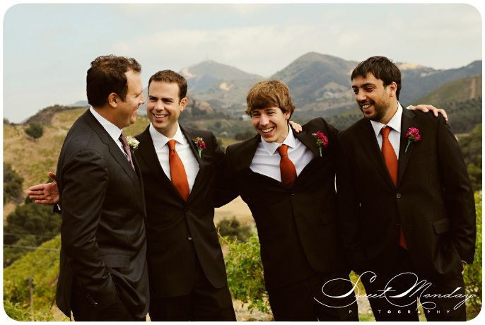 Orange Ties Black Suits Groomsmen Photo By Sweet Monday Photography Www Sweetmondayphotography
