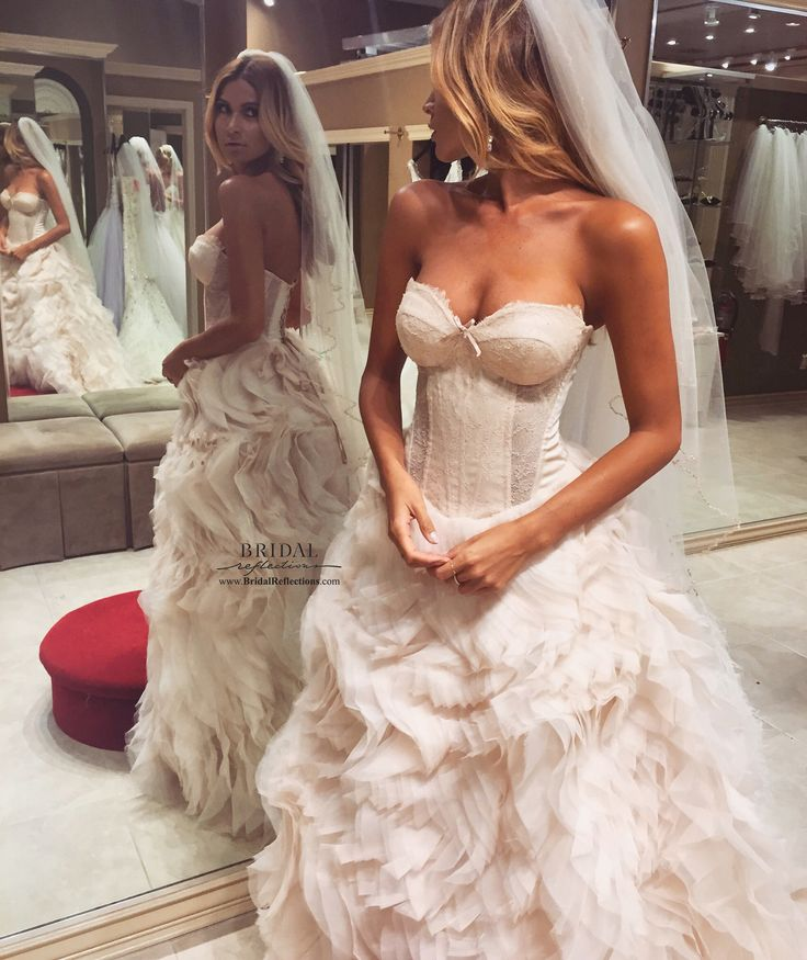 Bridal Reflections stunning model wearing Lazaro Style: LZ3550 Sherbet textured bridal ball gown, strapless sweetheart neckline, silk satin organza corset bodice with Chantilly lace and sheer lace cutouts, curved waist http://www.bridalreflections.com/bridal-dress-designers/lazaro