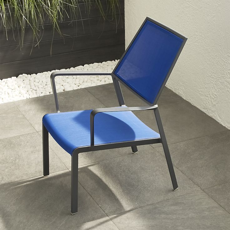 Shop Largo Mediterranean Blue Mesh Lounge Chair.   The Largo outdoor lounge chair is breezy and comfortable with a PVC-coated polyester mesh fabric seat and back in Mediterranean blue.  Charcoal powdercoated aluminum frame offers the perfect contrast.