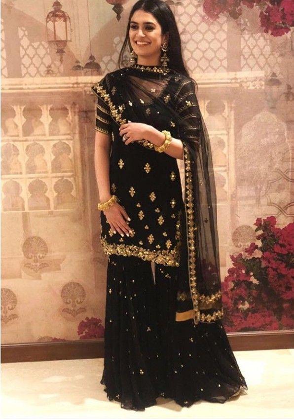 8ee9c4d989 Beautiful Hand Embroidered Georgette-Silk Kurta with Sharara and dupatta  set.
