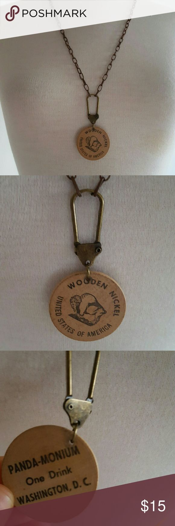 Wooden nickle vintage necklace/ good for 1 drink Actual vintage wooden nickle necklace. Back reads good for one free to! Pretty cool piece. Urban for exposure. Urban Outfitters Jewelry Necklaces