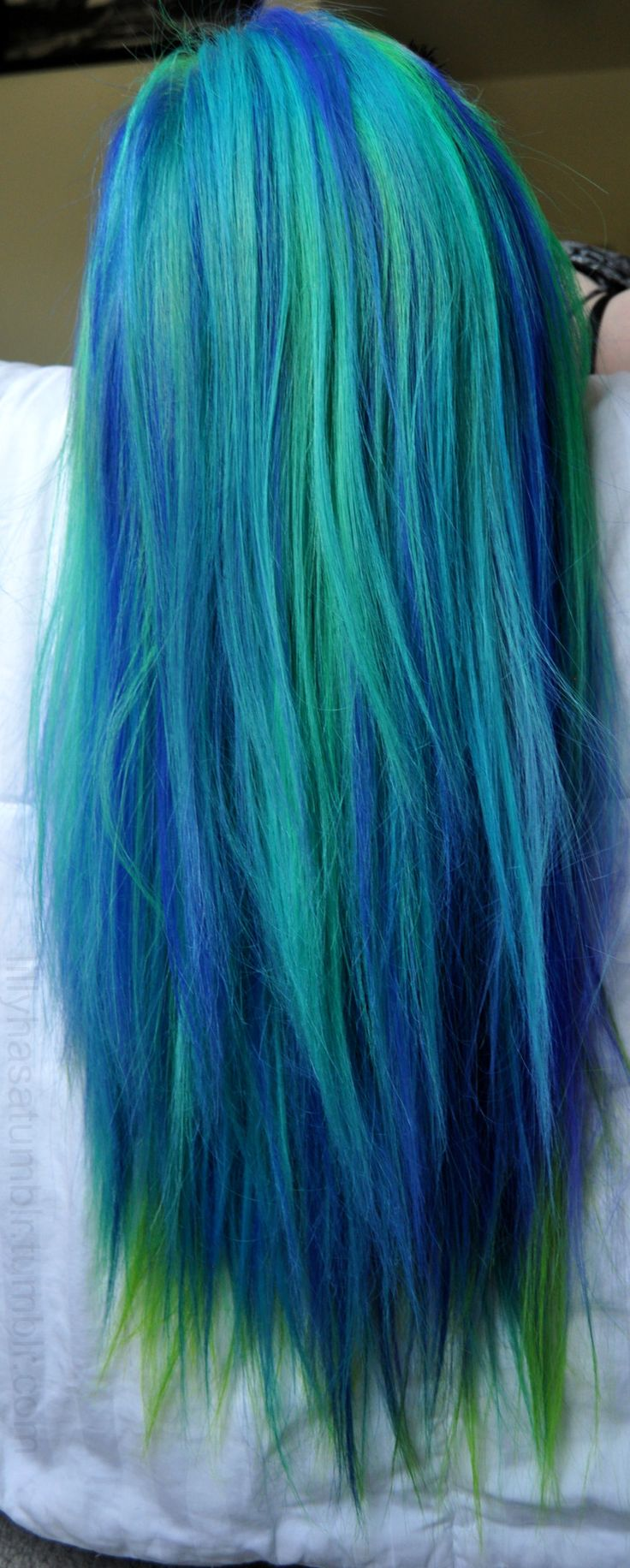 image Bright blue hair perfect girl masturbate