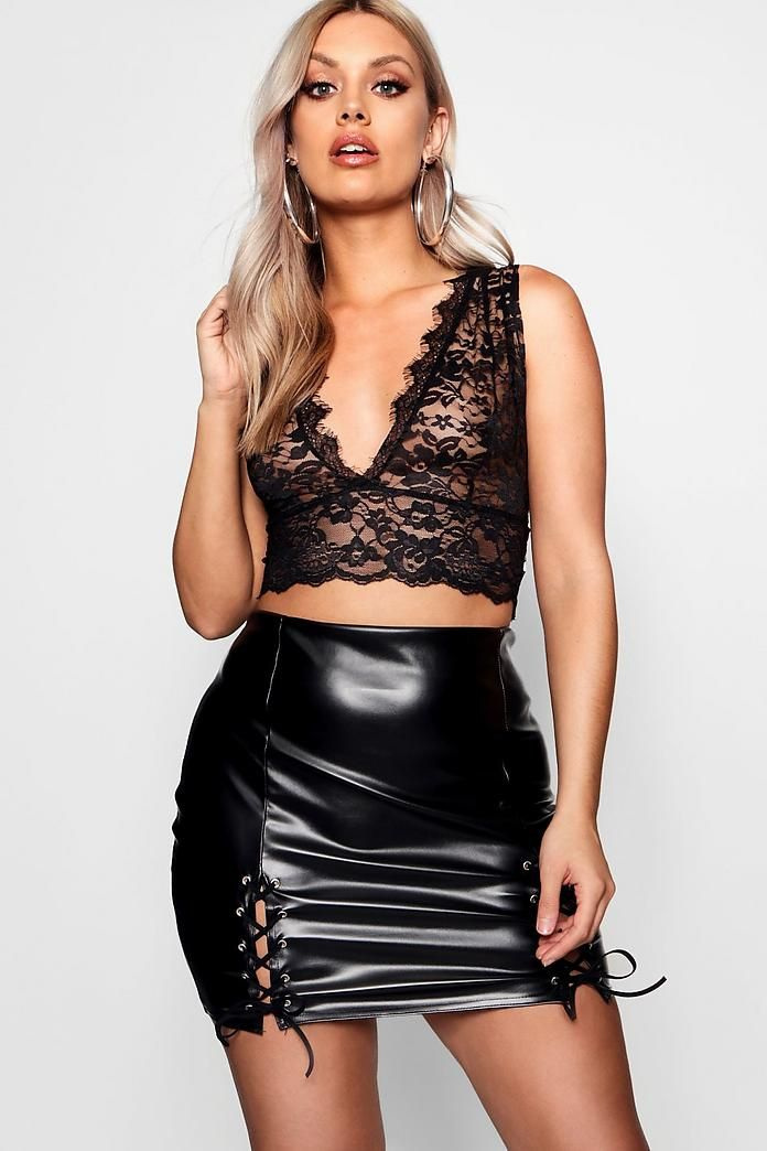 ee4f8dadbc1e Plus Plunge Lace Bralet | latex | Skirts, Lace, Leather Skirt