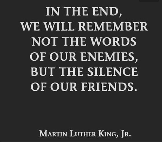 In the end We will remember not the words of our enemies, but the silence of our friends.