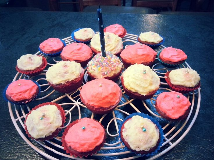 Red Velvet Cupcakes with cream cheese icing. A real winner in my house. The recipe on my sweets and desserts board.