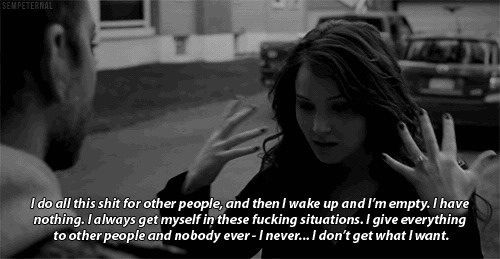 I do all this shit for other people and then I wake up and I am empty... I don't get what I want. Silver Linings Playbook