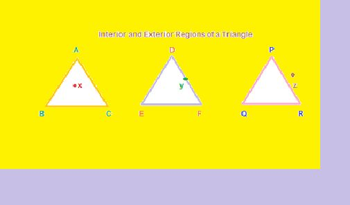 WHAT ARE THE INTERIOR AND EXTERIOR PARTS OF A TRIANGLE? Interior of a triangle:  In triangle ABC, point x lies inside the triangle. All of the space within the three sides AB, AC and BC form the interior region of the triangle.  On the triangle:  In triangle DEF, point y lies on the side DF, or the triangle DEF.  Exterior to a triangle: For triangle PQR, point z lies outside. We say point z is in a region exterior to