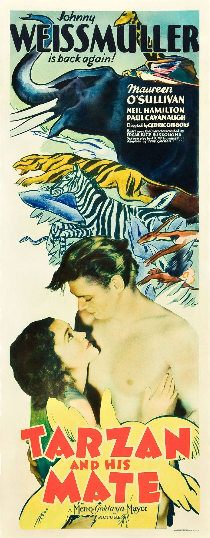 TARZAN AND HIS MATE (1934) - Johnny Weismuller - Maureen O'Sullivan - MGM - Insert Movie Poster.