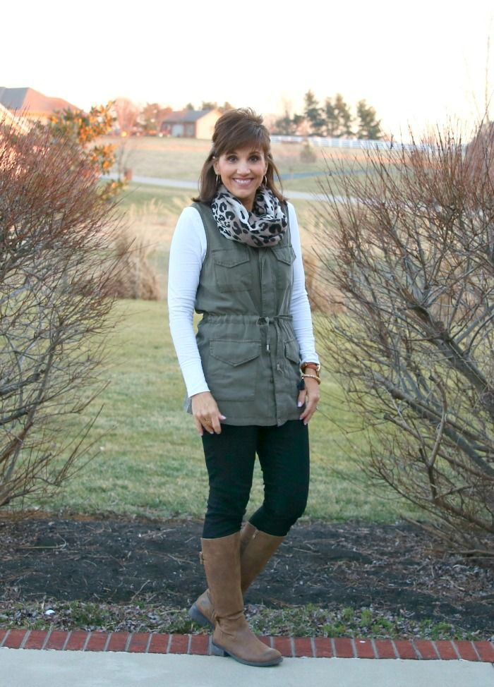 Cargo Vest with brown boots for Casual Winter Outfit