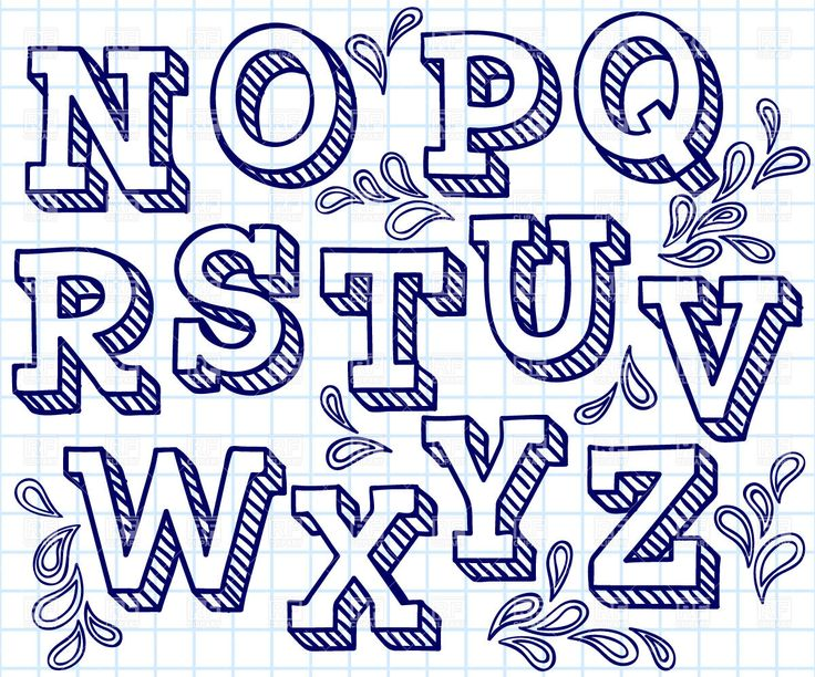Hand drawn font - shaded letters and decorations, 29822, download royalty-free vector clipart (EPS)