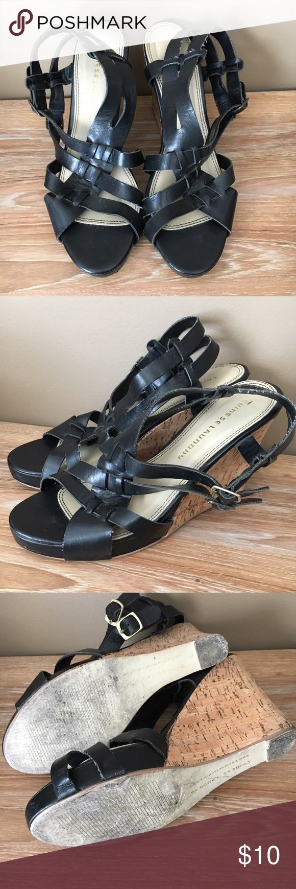 Chinese Laundry 9M Black Strappy Cork Wedge Heels In good used condition! Some stray frayed strings here and there but tons of life left in these shoes! They go with absolutely everything and are a staple for Spring and Summer. Chinese Laundry Shoes Wedges