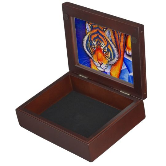 "Year of the Tiger colorful keepsake box by Rebecca Wang on Zazzle.  These beautiful keepsake boxes are made from mahogany-colored wood and the interior is lined with black velvet fabric.  The design is printed in full color on both sides of the lid.  Measures 6.5"" x 8.5"" x 2.75"".  Perfect for jewelry, watches, photos or other trinkets!"