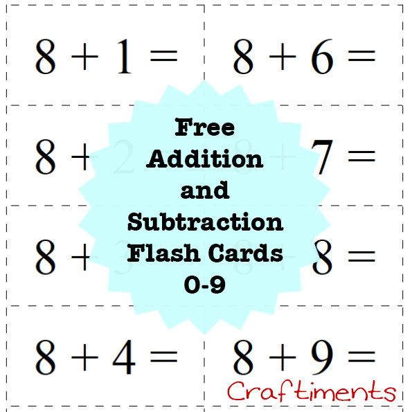 Craftiments:  Free printable addition and subtraction flash cards 0 -9