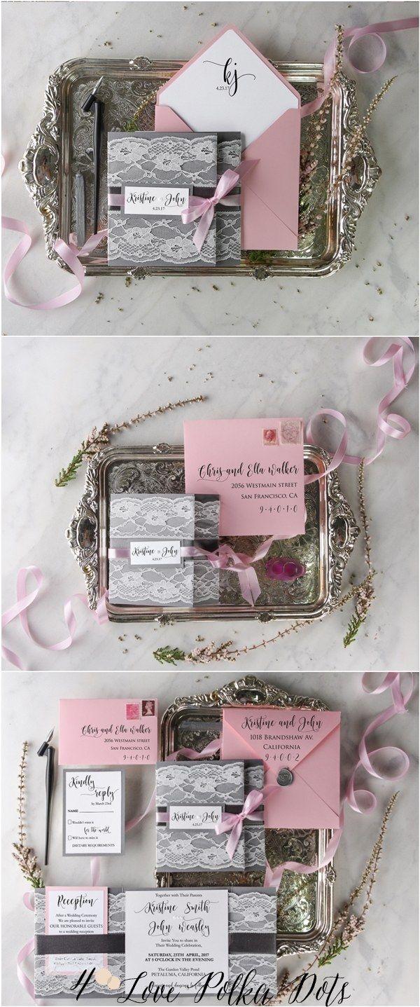 Rustic pink and grey lace wedding invitations #rusticwedding #countrywedding #weddingideas #pinkwedding #greywedding