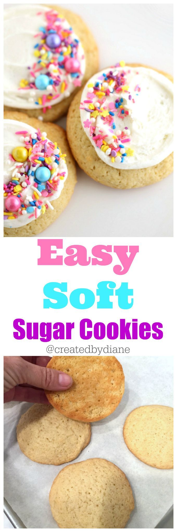 easy soft sugar cookies with UNICORN Sprinkles Buttercream Frosting, lofthouse style bakery cookies @createdbydiane