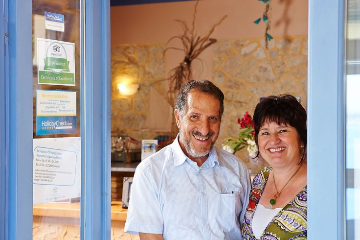 Villas Cavo Marathia Zakynthos - owner Petra & Janis Zantiotis at reception