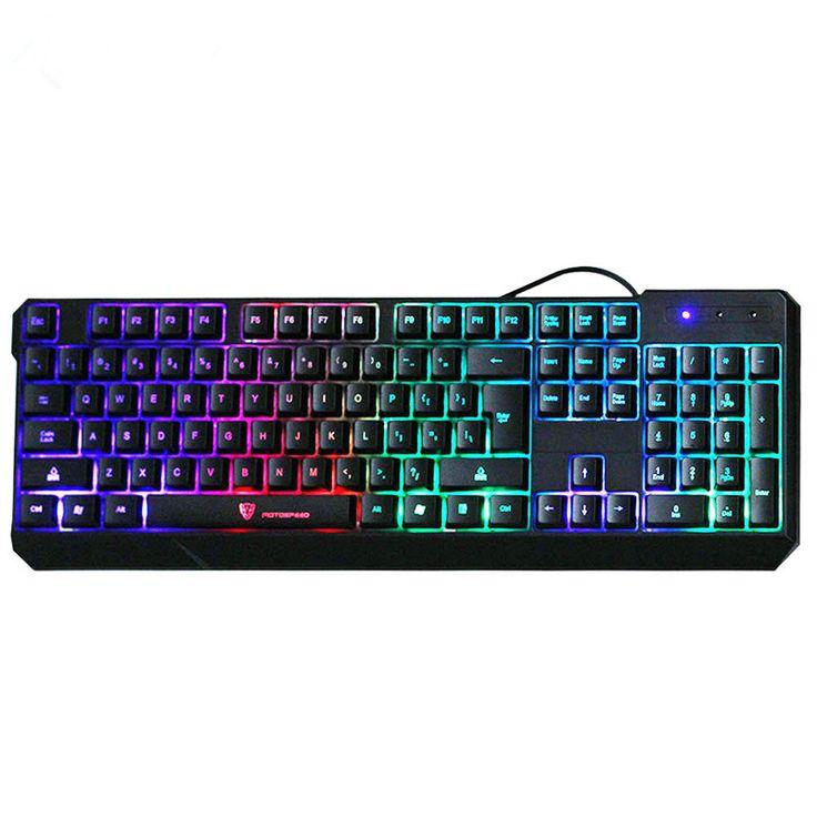 K70 Original Gaming Keyboard 7-Color Colorful LED Backlight Wired Teclado USB Powered Gamer Keyboard for Desktop Laptop Black #Affiliate