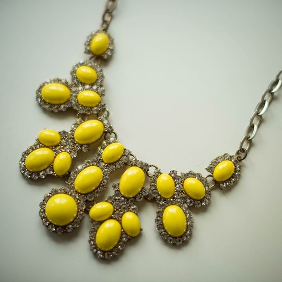 """Erica Lyons Yellow Statement Necklace 12"""" length.  beautiful statement necklace.  crackled texture on yellow baubles. Erica Lyons Jewelry Necklaces"""