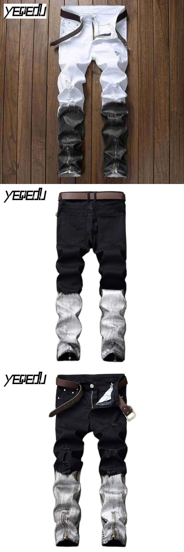 #2735 2017 Classic Patchwork Black ripped jeans for men Ankle zipper jeans Straight Famous brand Distress ink Moto jeans men