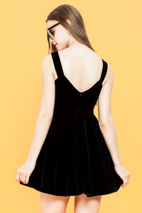 Pamela #Black Fitn #Flare #velveteen #Dress - Shallowmint.com ...