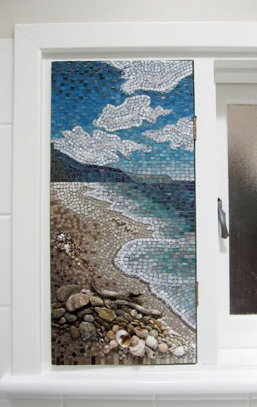landscape mosaic - love the use of shells, stones and drift wood on the beach!