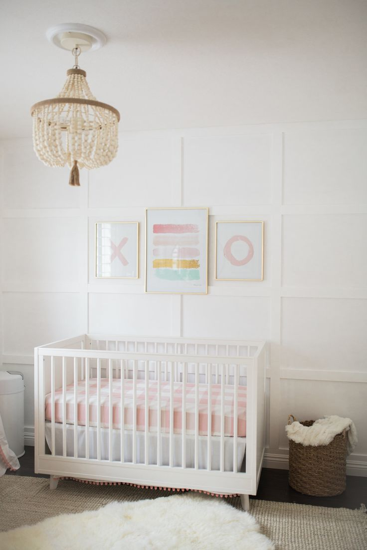 Pink mint and gray baby girl nursery project nursery - The Posh Home Bright White And Pink Baby Girl Nursery Reveal