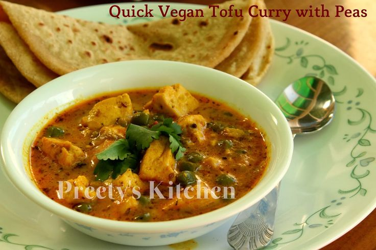 Preety's Kitchen: Quick Tofu Curry with Peas / Matar Tofu Ki Sabzi (Pressure Cooker Recipe) / Vegan