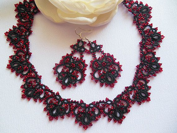 Black tatting jewelry set black lace necklace with red