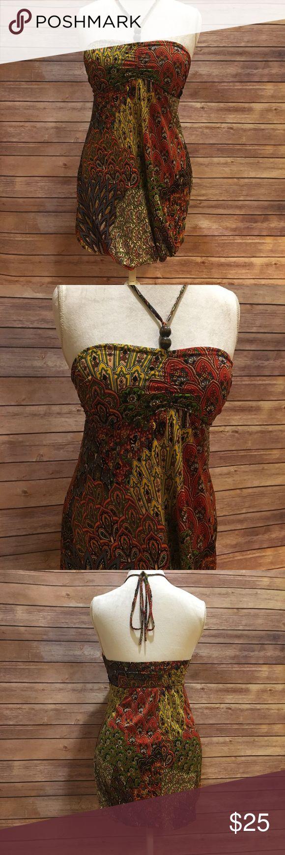 Bohemian Paisley Mini Halter Dress w/ wood beads S Gorgeous, Bold and Bright bohemian style Halter dress with tie Halter and two wood beads strung on tie. Mini dress. Festival Season, Burning Man! Dresses Mini