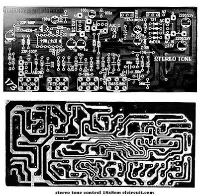 PCB Layout Design Stereo Tone Control include power supply