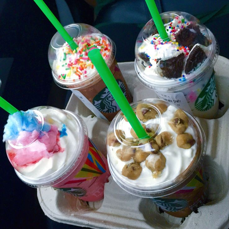 Birthdaycake Oreo, cookie dough, cotton candy, and sprinkle frappuccinos