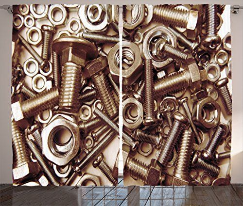 Ambesonne Industrial Decor Collection Assorted Nuts and Bolts Close Up Picture Metal Parts Tighten Screws Supplies Image Living Room Bedroom Curtain 2 Panels Set 108 X 84 Inches Metallic Grey * Read more  at the image link.