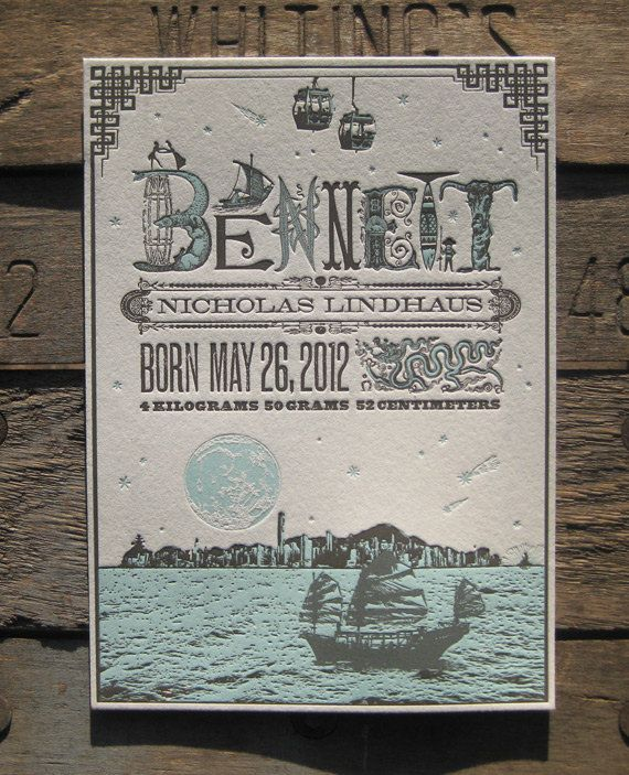 Custom Design Letterpress Birth Announcement