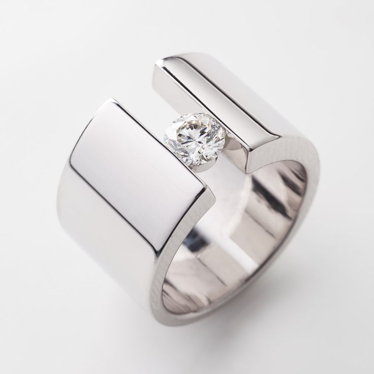 modern engagement ring design with white diamond by richard moser dds diamonds - Ring Design Ideas