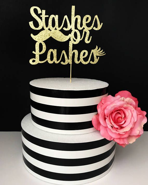 stashes or lashes cake topper gender reveal cake topper baby