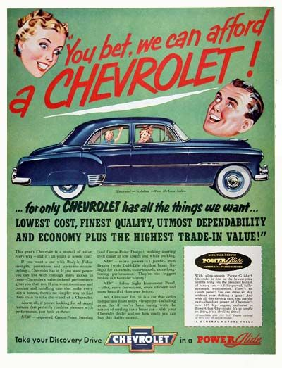 1952 Chevrolet Styleline Deluxe Sedan vintage ad. You bet, we can afford a Chevrolet!