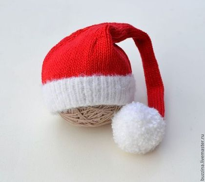 Для новорожденных, ручной работы. Колпак Санты для фотосессии новорожденного. БУЗИНА шапочки для фотосессии. Интернет-магазин Ярмарка Мастеров.