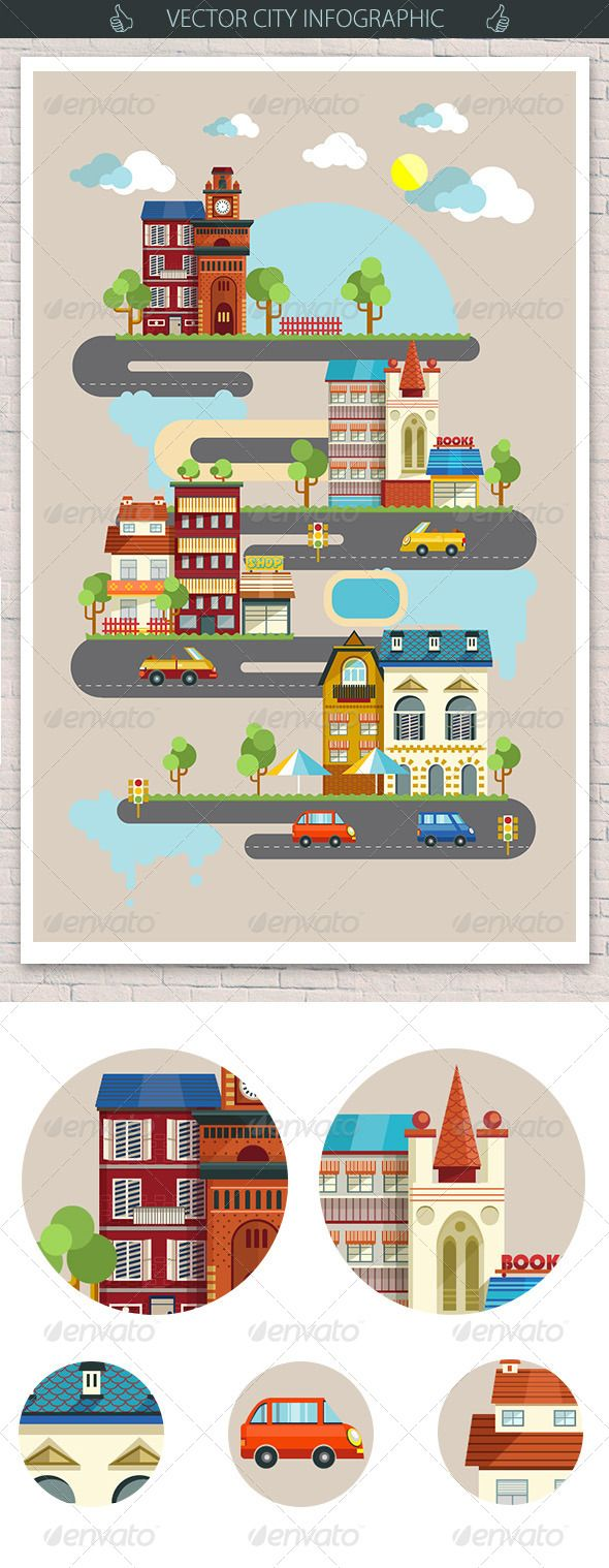 City Infographic with Flat Buildings Elements