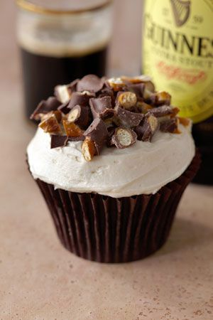 Chocolate Stout Cupcake with Vanilla Stout Buttercream Frosting, Topped with Crushed Chocolate-Covered Pretzels