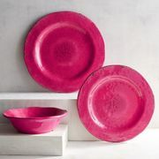 Our deep pink dinnerware can make a statement with punchy color, and it works well with black, white or other bold colors. Crafted in the style of hand-thrown Italian stoneware, our Carmelo Collection is deceptively lightweight. It's melamine, so it's easy to handle and care for. Set it out for an outdoor party, indoor dinners or just for everyday use.