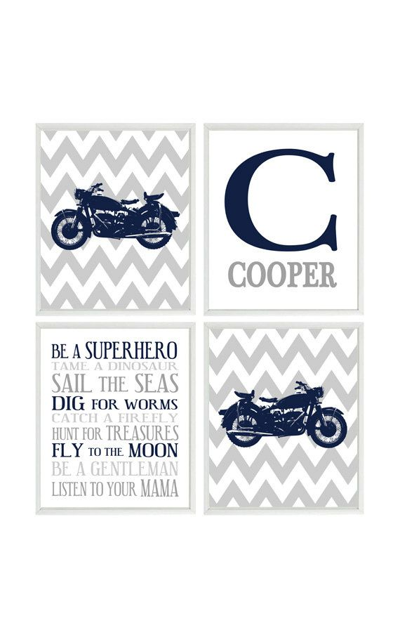 Motorcycle Nursery Baby Boy Wall Art by RizzleandRugee on Etsy