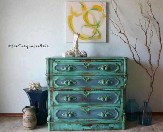 Gorgeous Mediterranean Turquoise Wood Rustic Dresser