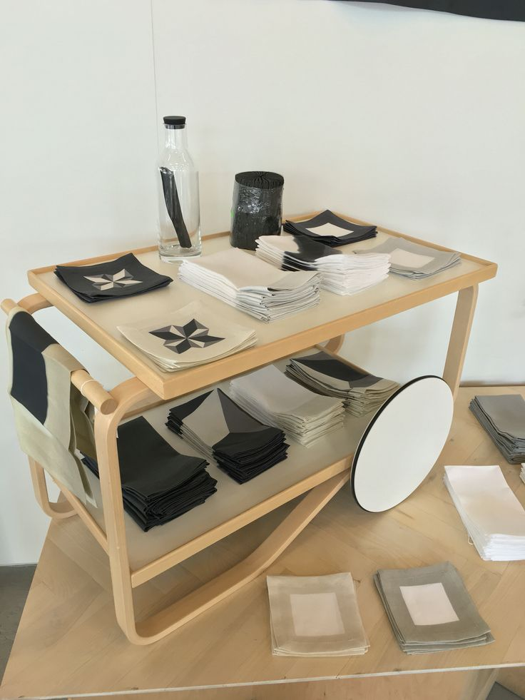 Artek Tea Trolley dressed with linens from Huddleson.