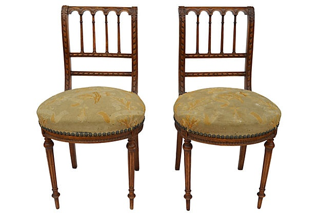 French Side  Chairs, Pair -  I bet they are really LITTLE  and low to the ground.  975/1500.