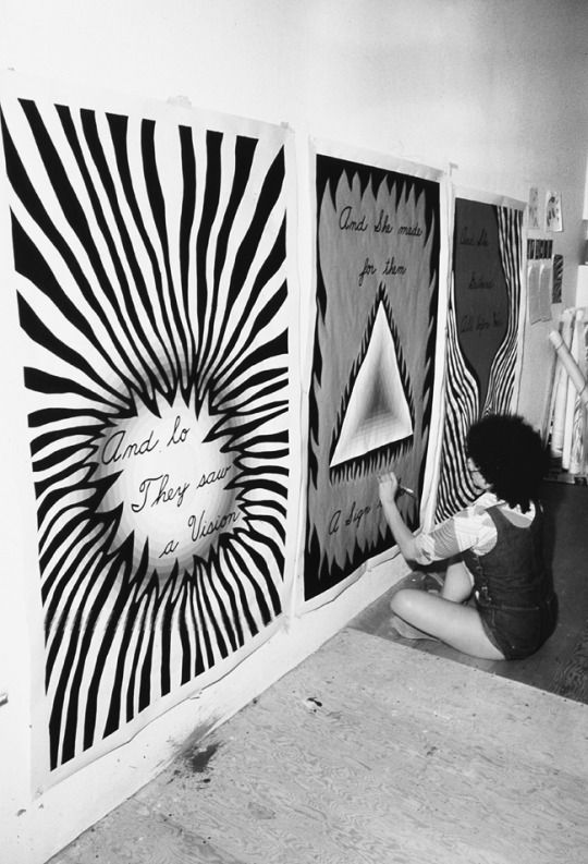 Judy Chicago working on Entryway Banners
