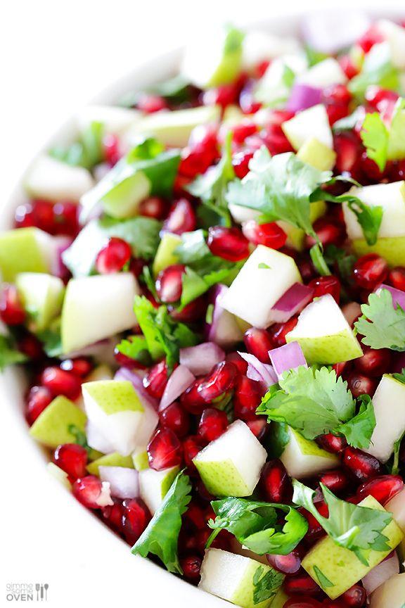 5 ingredient pear pomegrante salsa
