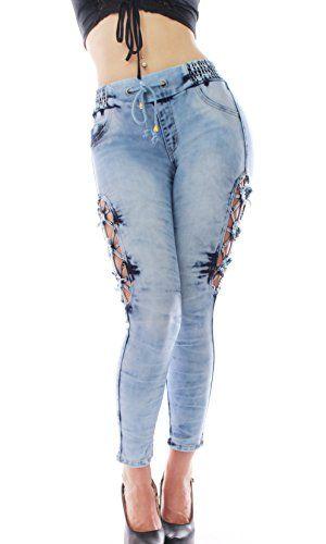 nice FARINA®1620 Damen Jeans Hose Hüfthose Damenjeans Hüftjeans Röhrenjeans Röhrenhose Röhre (42-44/EU-14, Blau)